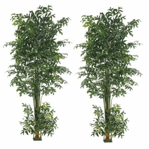 Set of 2 - Large Artificial Fishtail Silk Palm Trees 10' Tall