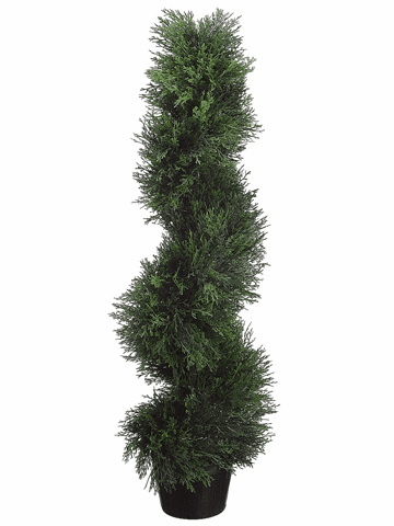 Set of 4 - 3' Spiral Cedar Artificial Topiaries