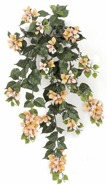 "Set of 4 - 36"" Artificial Outdoor Bougainvillea Flowers - UV Infused Peach"