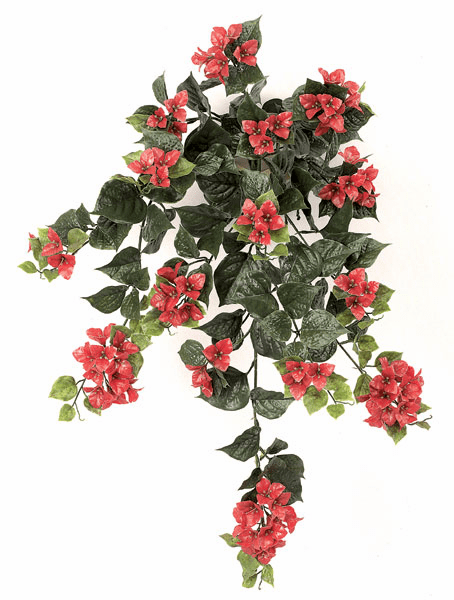 "Set of 4 - 36"" Outdoor Artificial Bougainvillea Flowers - UV Infused Red/Rust"
