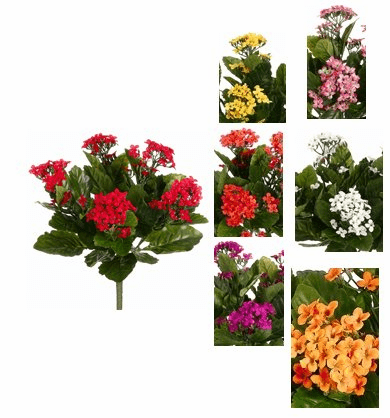 "Set of 6 - 13.5"" Kalanchoe Flower Artificial Plant"