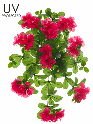 "Set of 6 - 23"" UV Protected Artificial Outdoor Azalea Hanging Flower Bushes - Shown in Beauty"