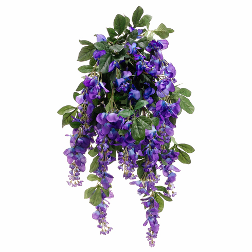 """Set of 6 - 31"""" Artificial Silk Wisteria Flowering Bushes"""