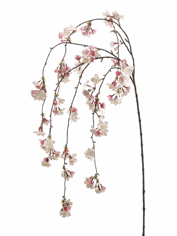 "Set of 6 - 58"" Artificial Silk Cherry Blossom Hanging Spray"