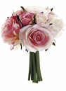 "9"" Artificial Silk Confetti Rose Wedding Bouquets - Set of 6 (Shown in Pink)"