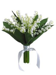 "10"" Silk Lily of the Valley Wedding Flowers Bouquet - Set of 6"