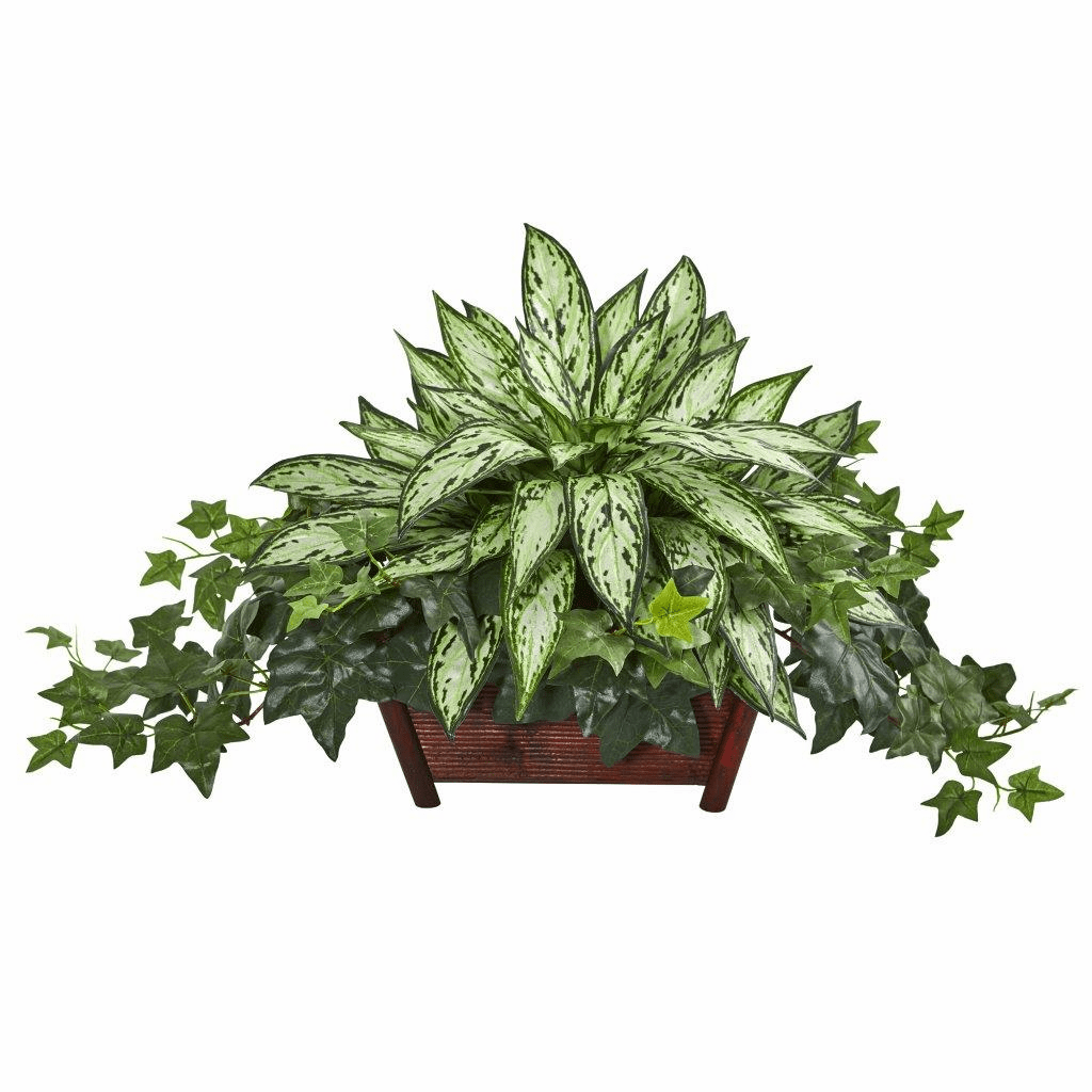 "17"" Silver Queen and Ivy Artificial Plant in Decorative Planter"
