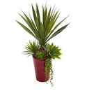 "20"" Spiky Agave & Succulent Artificial Plant in Red Planter"