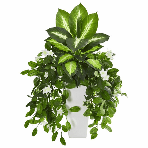 "27"" Stephanotis and Dieffenbachia Artificial Plant in White Vase"