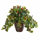 Strawberry Artificial Plant in Decorative Planter - N/A