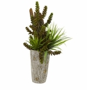 """21"""" Succulent and Grass Garden Artificial Plant in Weathered Planter"""