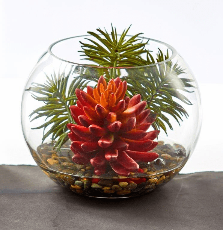 "6"" Succulent Artificial Plant in Round Vase"