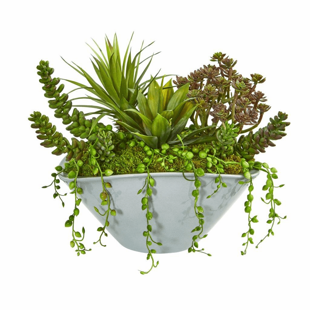 "10"" Succulent Garden Artificial Plant in Green Vase"