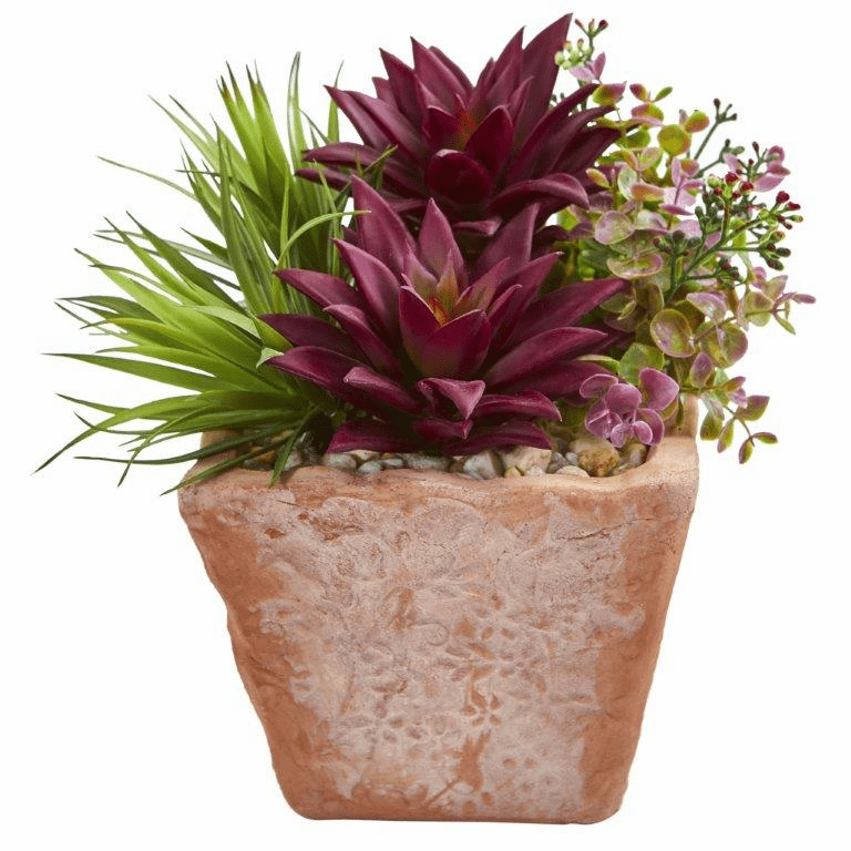 "10"" Succulent Garden Artificial Plant in Terracotta Planter"