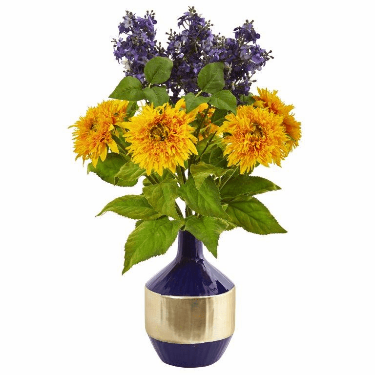 """24"""" Sunflower and Lilac Artificial Arrangement in Blue and Gold Vase"""