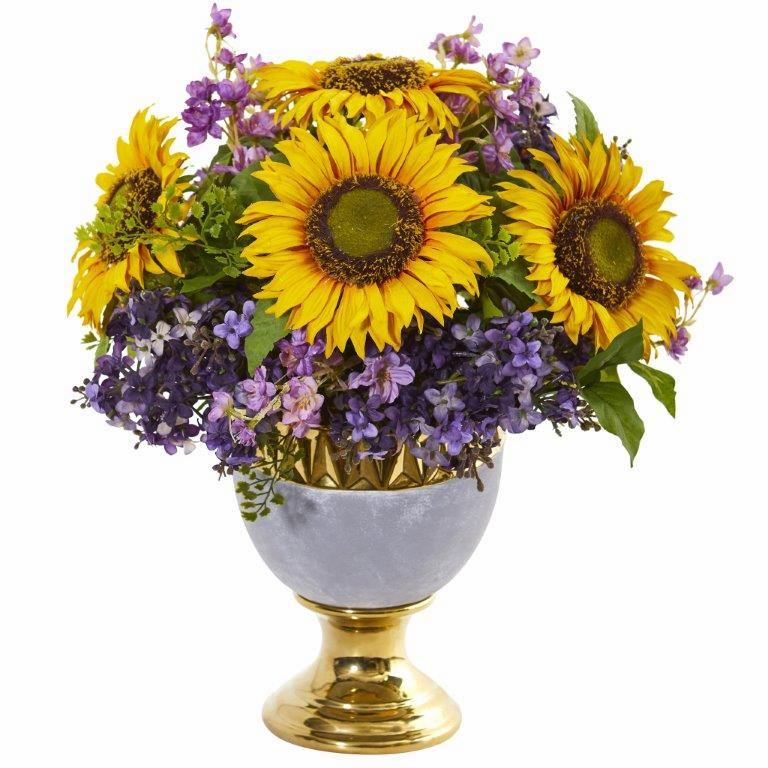 Sunflower and Lilac Artificial Arrangement in Stoneware Urn with Gold Trimming -