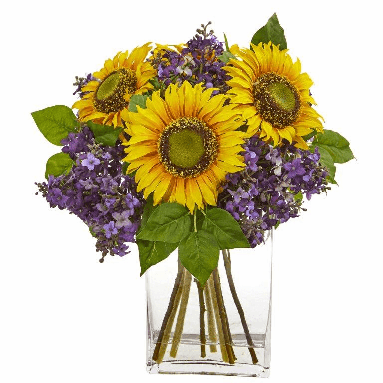 Sunflower and Lilac Artificial Arrangement in Vase -