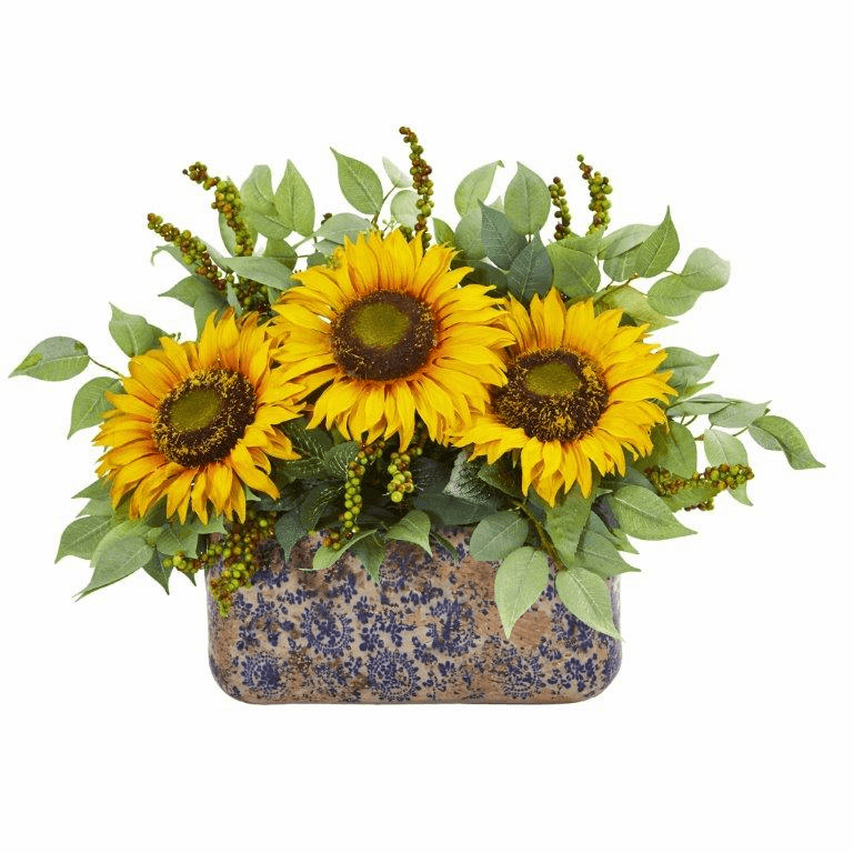 Sunflower and Mixed Greens Artificial Arrangement in Vase