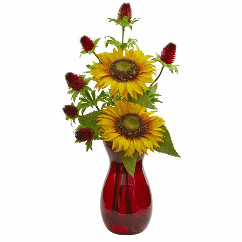 """20"""" Sunflower and Thistle Artificial Arrangement in Red Vase"""