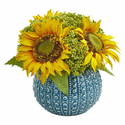 Sunflower Artificial Arrangement in Blue Vase