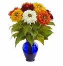 "19"" Sunflower Artificial Arrangement in Blue Vase - Assorted"