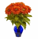 "19"" Sunflower Artificial Arrangement in Blue Vase - Orange"