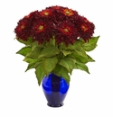 "19"" Sunflower Artificial Arrangement in Blue Vase - Red"