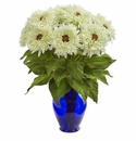 "19"" Sunflower Artificial Arrangement in Blue Vase - White"