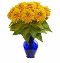 "19"" Sunflower Artificial Arrangement in Blue Vase - Yellow"