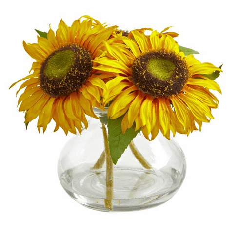 "8"" Sunflower Artificial Arrangement in Glass Vase"