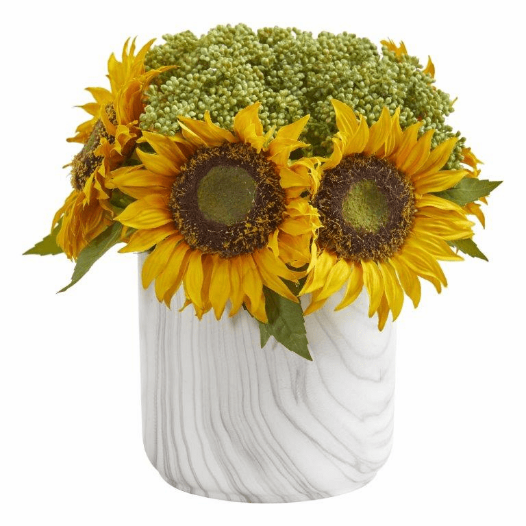 Sunflower Artificial Arrangement in Marble Finished Vase