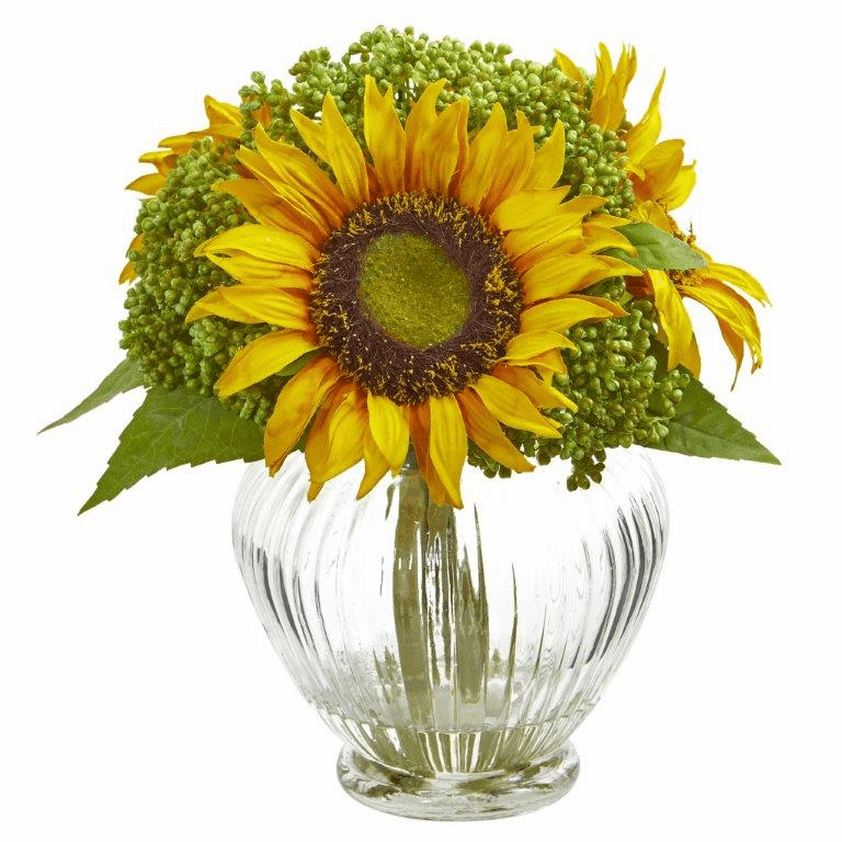 Sunflower Artificial Arrangement in Ribbed Glass Vase