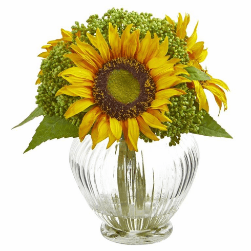 "10"" Sunflower Artificial Arrangement in Ribbed Glass Vase"