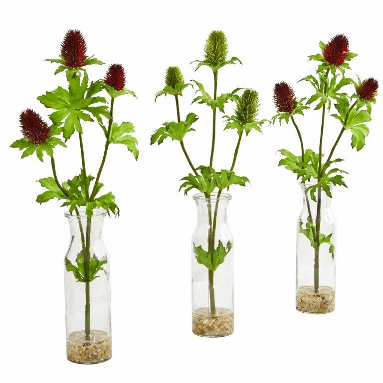 "17"" Thistle Artificial Arrangement in Bud Vase (Set of 3)"