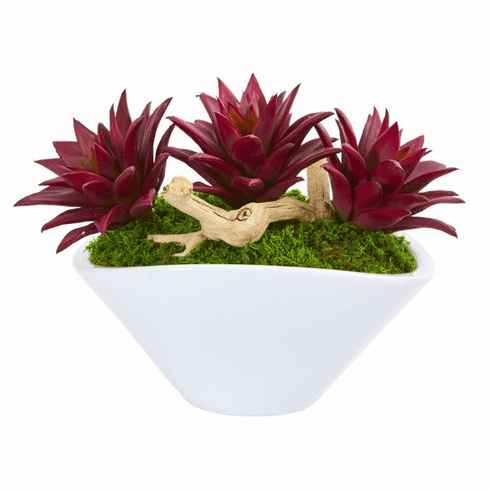 Triple Spiky Succulent Artificial Plant in White Vase