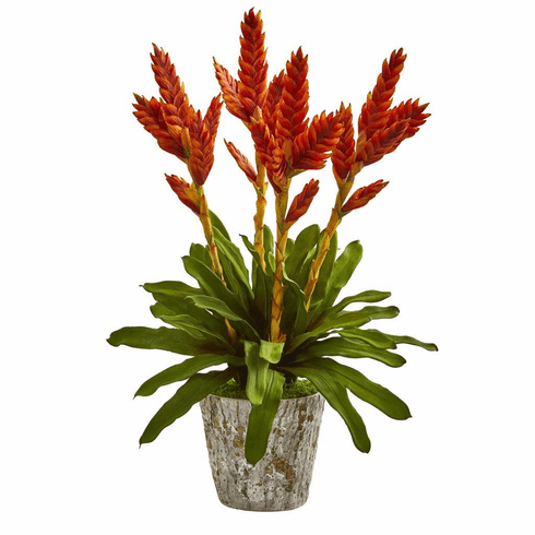 """27"""" Tropical Bromeliad Artificial Arrangement in Weathered Planter"""