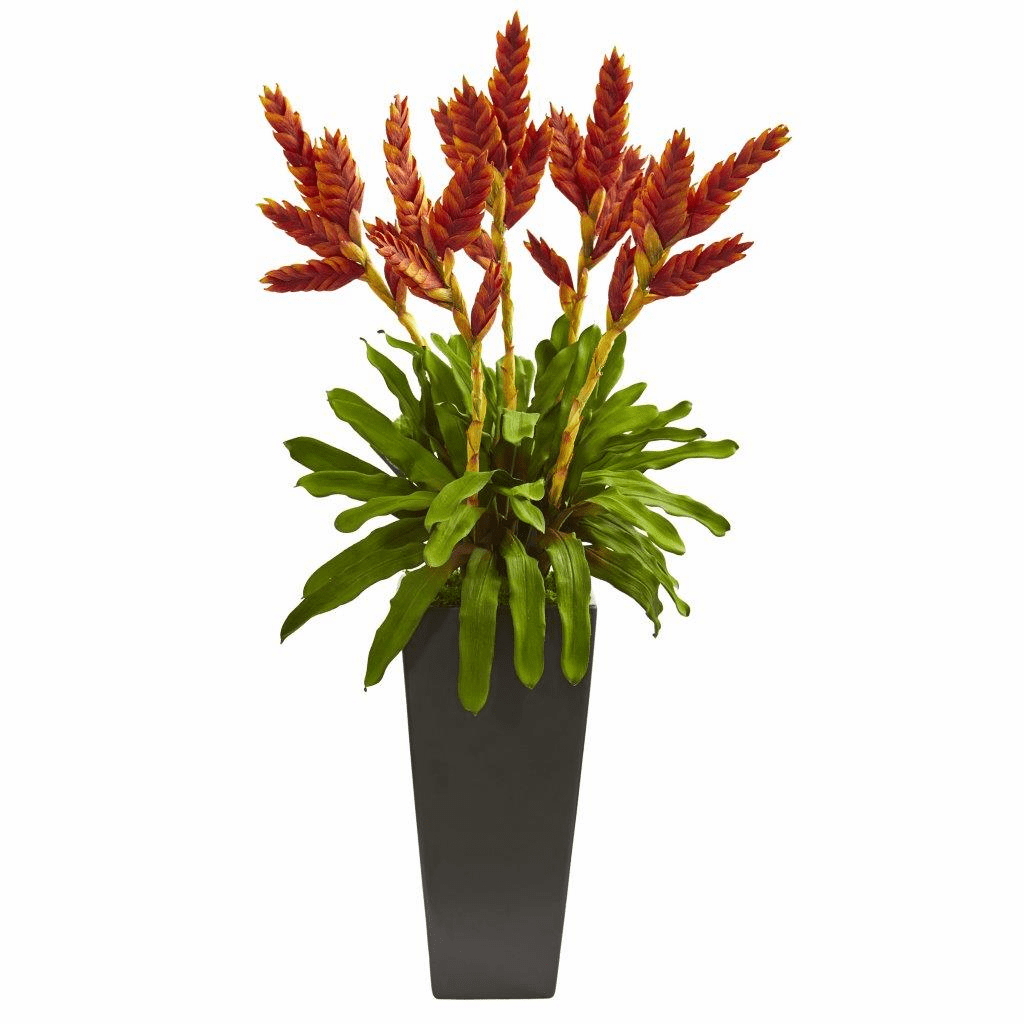 "36"" Tropical Bromeliad Artificial Plant in Black Vase"