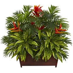 """30"""" Artificial Tropical Garden Plant with Wood Planter"""