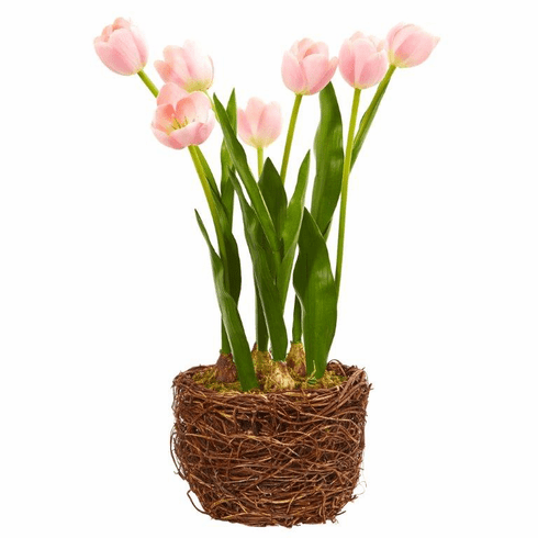 "20"" Tulip Artificial Arrangement in Twig Vase"