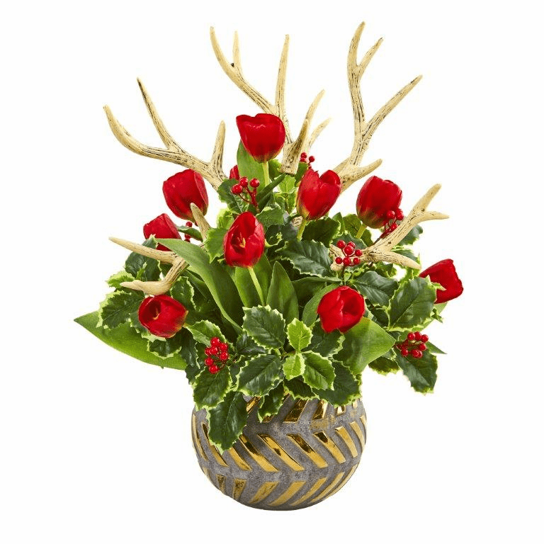 Tulips, Antlers and Holly Leaf Artificial Arrangement in Bowl - Red