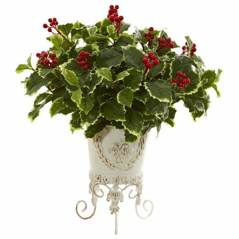 "19"" Variegated Holly Artificial Plant in Metal Planter (Real Touch)"