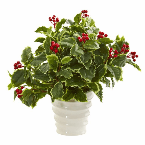 "16"" Variegated Holly Artificial Plant in White Vase (Real Touch)"
