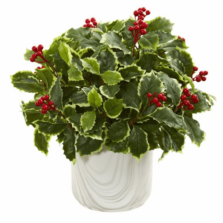 """14"""" Variegated Holly Leaf Artificial Plant in Vase (Real Touch)"""