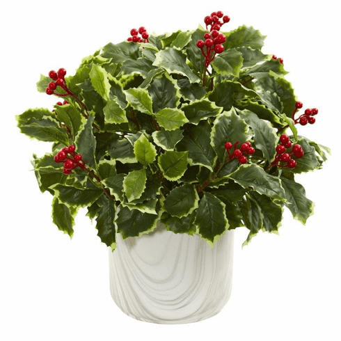 "14"" Variegated Holly Leaf Artificial Plant in Vase (Real Touch)"