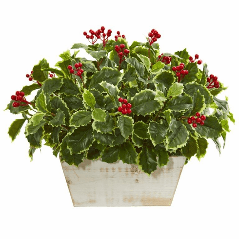 "15"" Variegated Holly Leaf Artificial Plant (Real Touch)"
