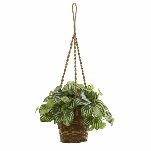 Watermelon Peperomia Artificial Plant in Hanging Basket (Real Touch)