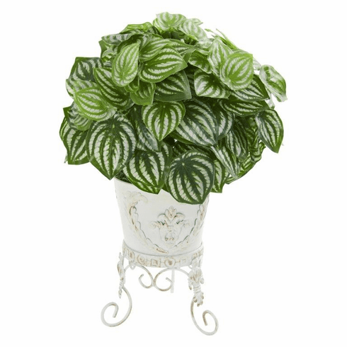 "18"" Watermelon Peperomia Artificial Plant in Metal Planter (Real Touch)"