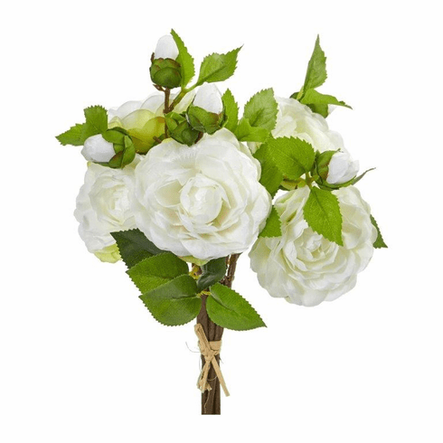 "11"" White Camellia Artificial Flower Bouquet (Set of 4)"
