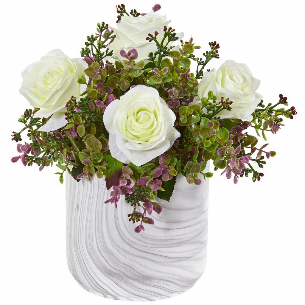 13� White Roses & Eucalyptus Artificial Arrangement in Marble Finished Vase