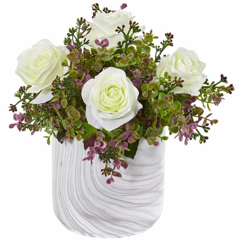 "13"" White Roses & Eucalyptus Artificial Arrangement in Marble Finished Vase"